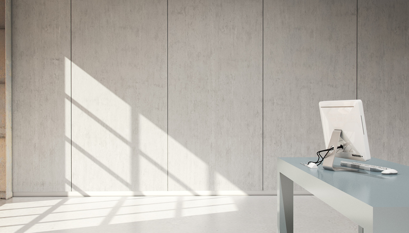 Abstracts Range: Frosted Glass 002 Desk, Concrete 002  Wall